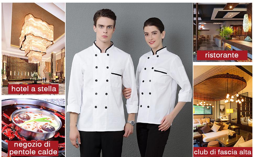 Nanxson Giacca da Cuoco da Uomo in Cotone Traspirante da Cucina Uniforme da Lavoro CFM0001