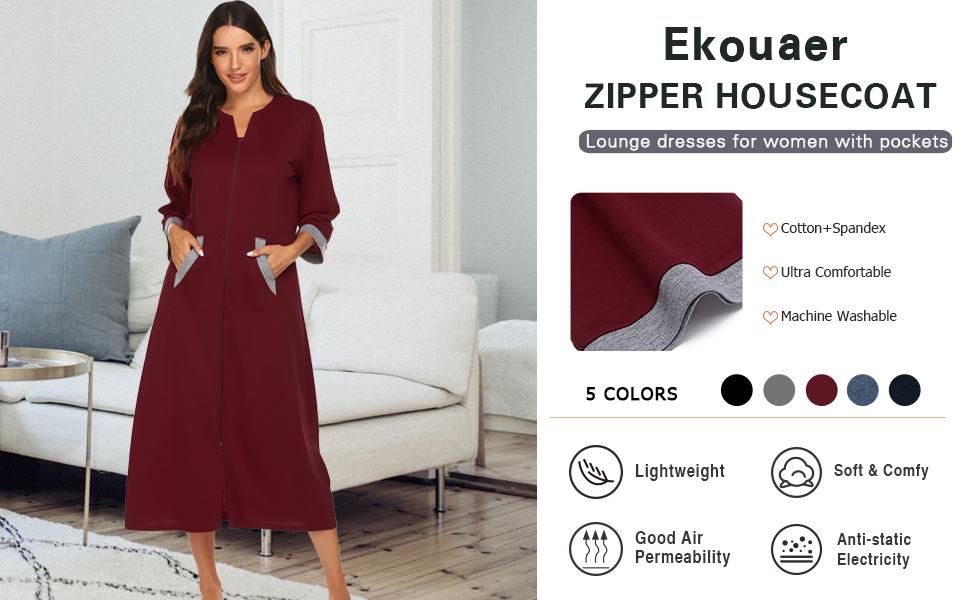 Ekouaer zipper robe