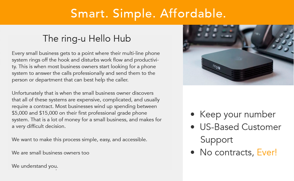 Amazon Com Ring U Hello Hub Small Business Phone System Pbx And Service Voip Up To 20 Lines And 50 Extensions Keep Your Number Set Up Easier Than A Wireless Router 24 95 Per Phone