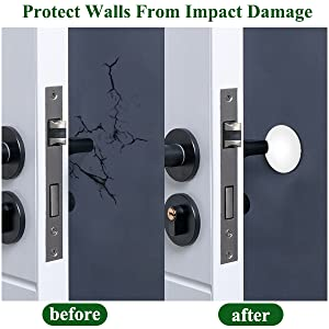 Prevent Damage to Walls from Door Knobs Handles Guard and Shield,White PAKESI Rubber Door Stopper Bumpers,4 PCS 1.96 Inch Door Stopper Wall Wall Protectors with Self Adhesive 3M Sticker