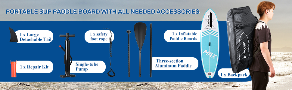 MaxKare Inflatable Paddle Board with all needed accessories