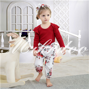 Newborn Baby Girl Clothes Letter Print Long Sleeve Bodysuit Ruffle Floral Pants with Headband 3Pcs Infant Girl Outfits Set