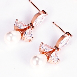 white cubic zirconia party bride ball earrings