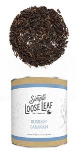 russian caravan black loose leaf tea Assam Keemun Lapsang Souchong blend