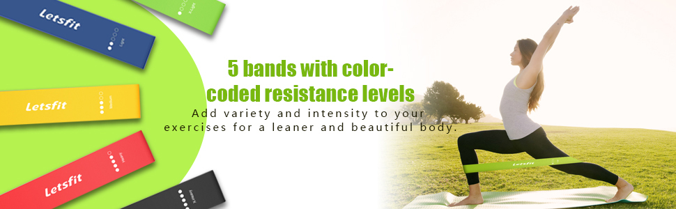 5 bands with color-coded resistance levels, exercising for a leaner and beautiful body.
