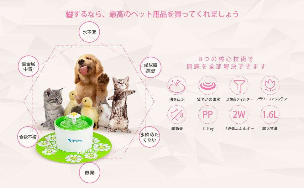 犬 水飲み器 シンプルでキュートな循環式給水器