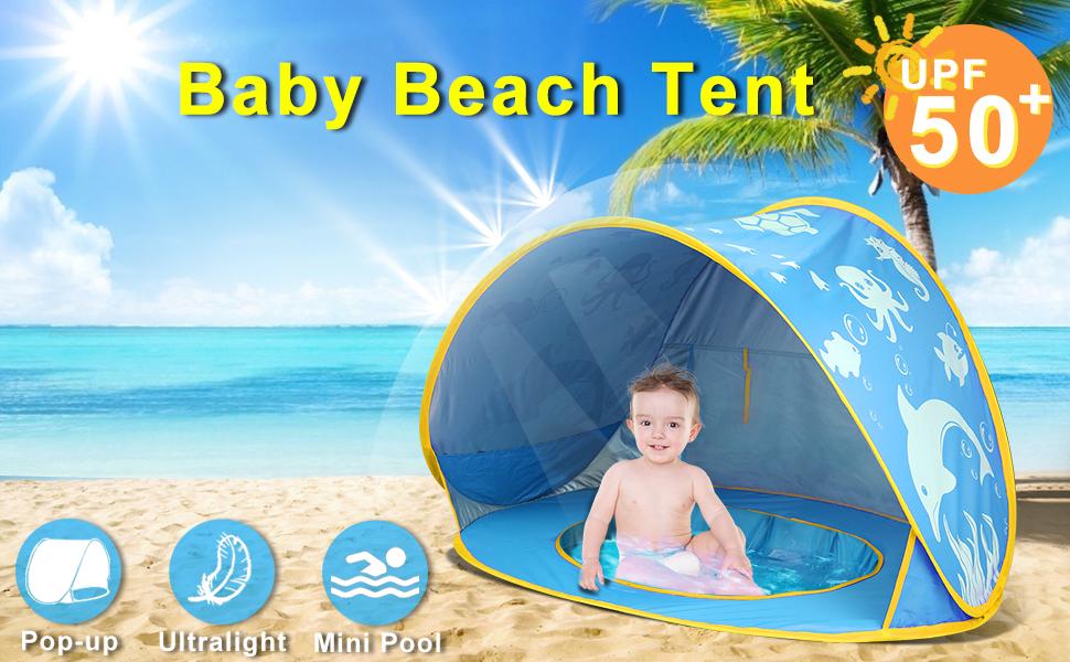 Baby Pop Up Strand Zelt Pool Infant Außenzelt Baldachin Sun Shelter UV DE-2021