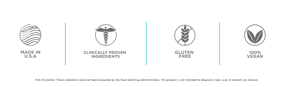 made in the USA clinically proven ingredients gluten free 100% vegan FDA disclaimer