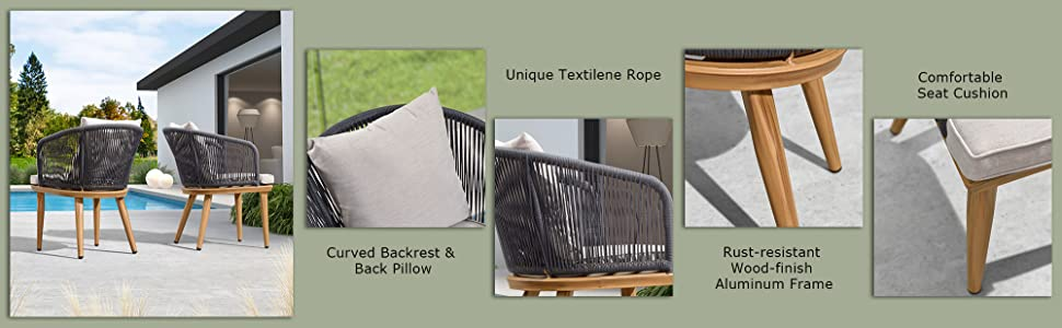 outdoor patio dining chair set with seat cushion pillow gray rattan wicker aluminium frame 350 LBS