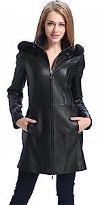 BGSD Women's Irene Lambskin Leather Parka Coat