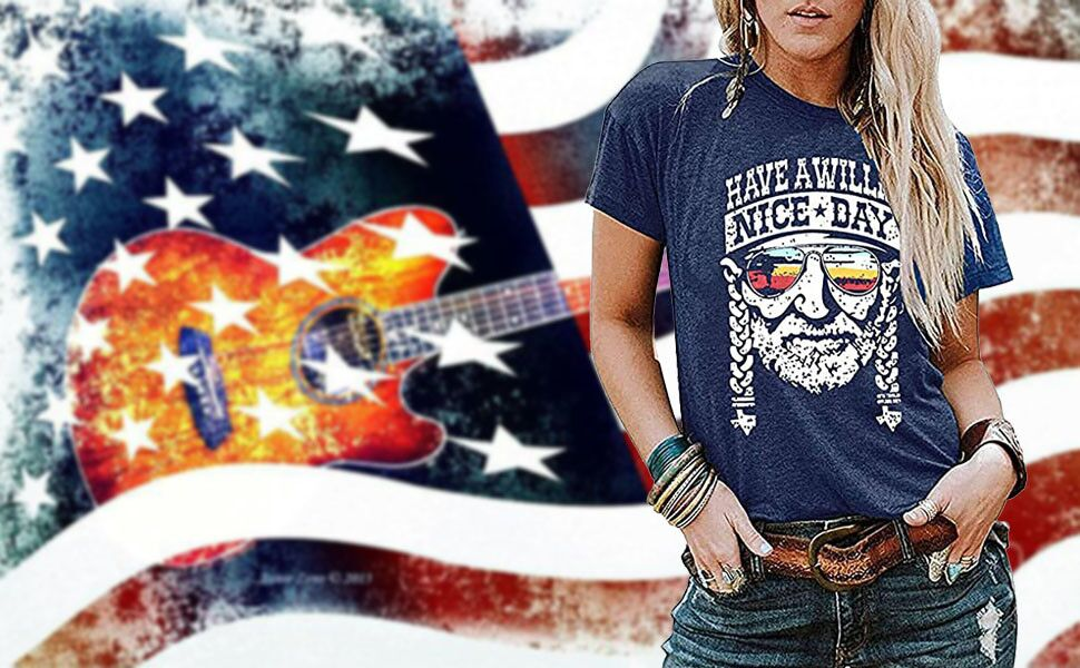 graphic top vintage clothing women women clothing Feelin/' willie blessed graphic tee for women willie nelson fashion graphic tee