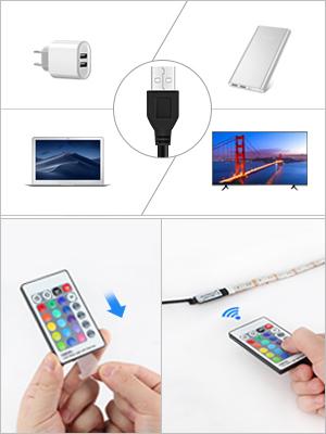 Energieklasse A + LED-Lichtstreifen-USB//Batteriebetrieben-2M Wasserdichtes warmes Wei/ß f/ür Hausdekor TV PC Zur/ück Stimmungslicht Kleiderschrank Schrank Licht