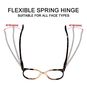 DURABLE SPRING HINGES IS SUITABLE FOR ALL FACE SIZES, COMFORTABLE AND DOES NOT PINCH THE FACE.