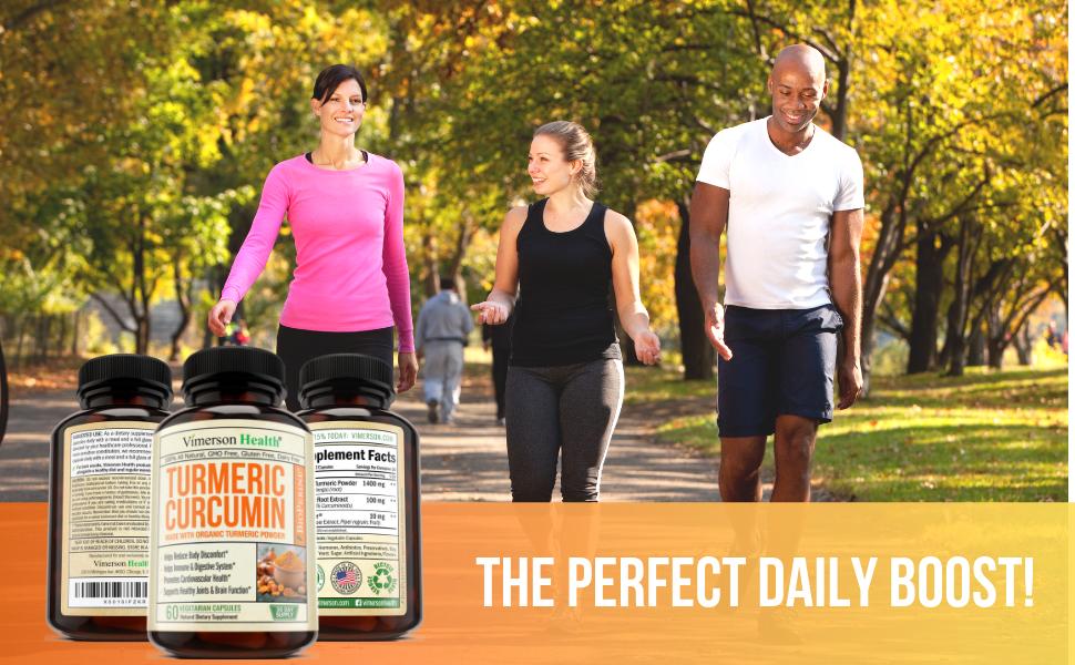 Organic Turmeric Curcumin Bioperine Black Pepper Natural Dietary Supplement Man Woman Jogging Park