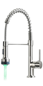 Brushed Nickel Kitchen Faucet With LED Light