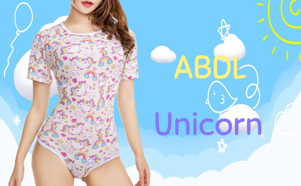 8a33f149b256e TEN@NIGHT Adult Baby Diaper Lover Onesie Unicorn ABDL Snap Crotch ...