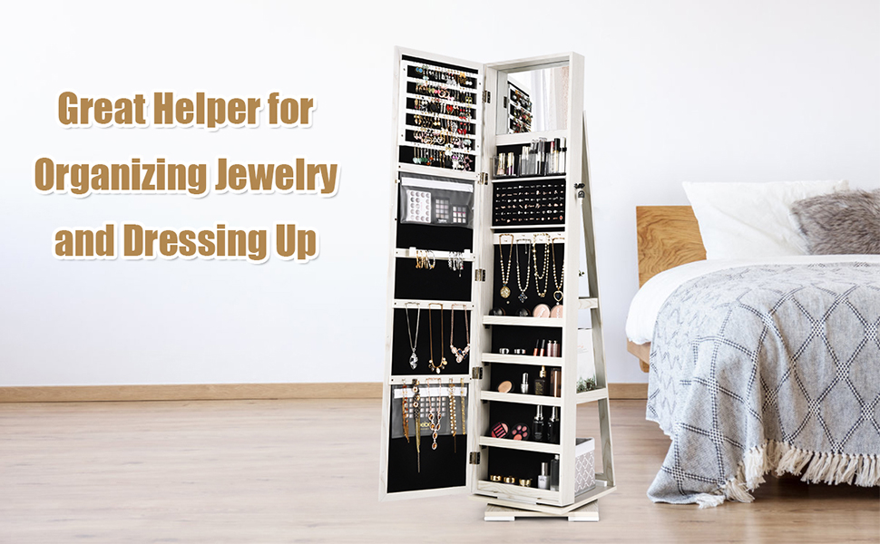 2-in-1 Mirror Jewelry Armoire