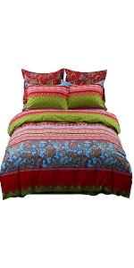 YOU SA Boho Style Duvet Cover Set Bohemian Ethnic Style Bedding Set Colorful Striped Bedding