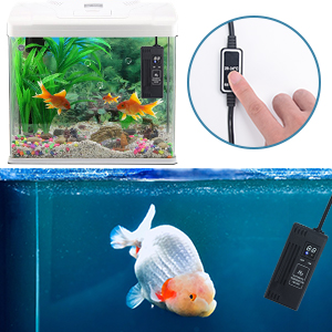 PTC High Power Aquarium Freshwater Heater//Sea Water Fish Tank Heater with Independent Controller Overheating Alarm Protection Buzzer,50w