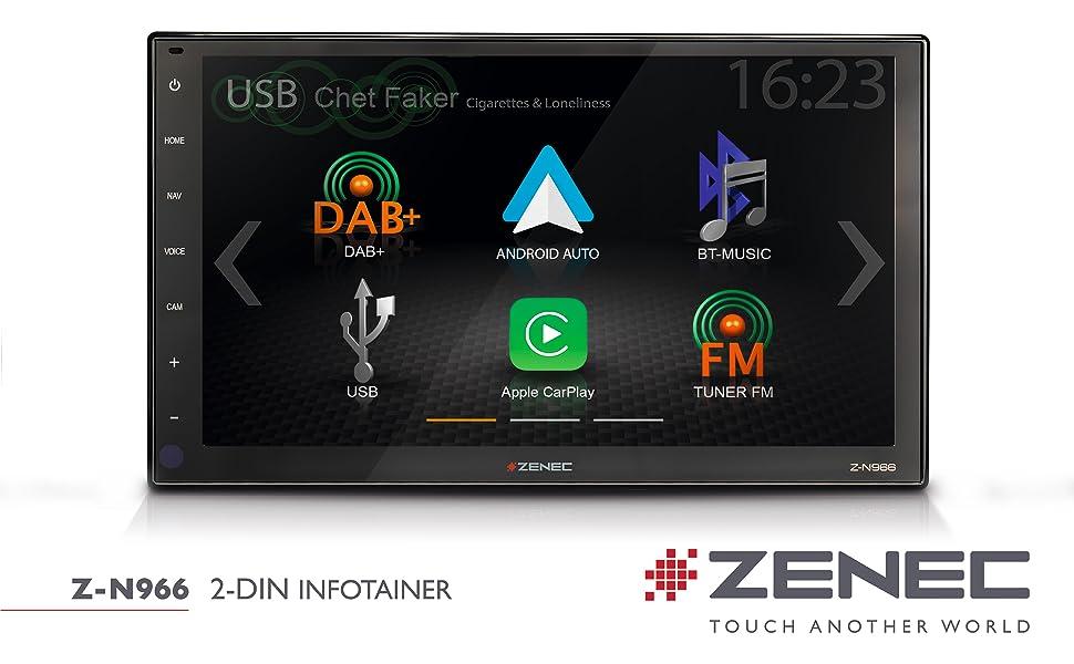 Zenec Z N966 2 Din Autoradio Multimediasystem Mit 9 22 9 Cm Hd Touchscreen Mediencenter Mit Dab Apple Carplay Android Auto Zum Navi Für Pkws Oder Reisemobile Erweiterbar Navigation