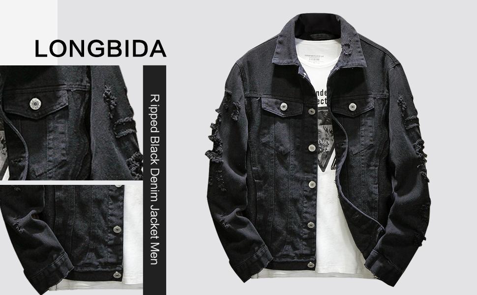 ripped black denim jacket men slim fit