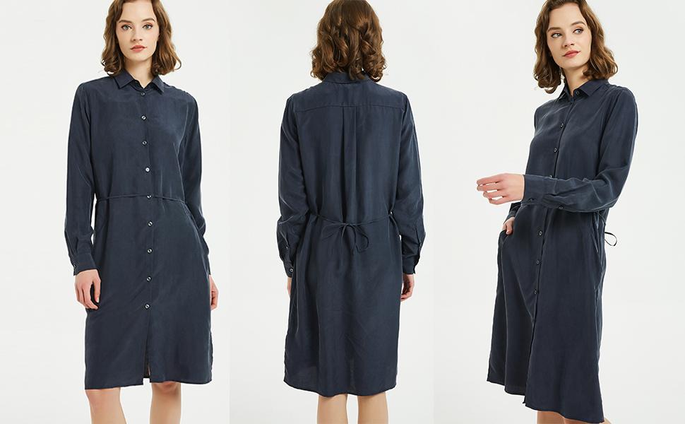 NEW DANCE Casual Dresses Belt Pocket Midi Knee Long Sleeves Loose Shirt Dress