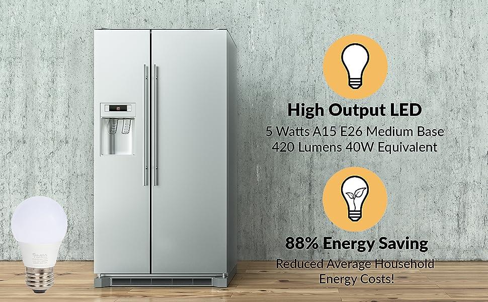 simba lighting a15 fridge freezer light bulb 40w e26 standard medium screw base 420 lumens 120v 125v