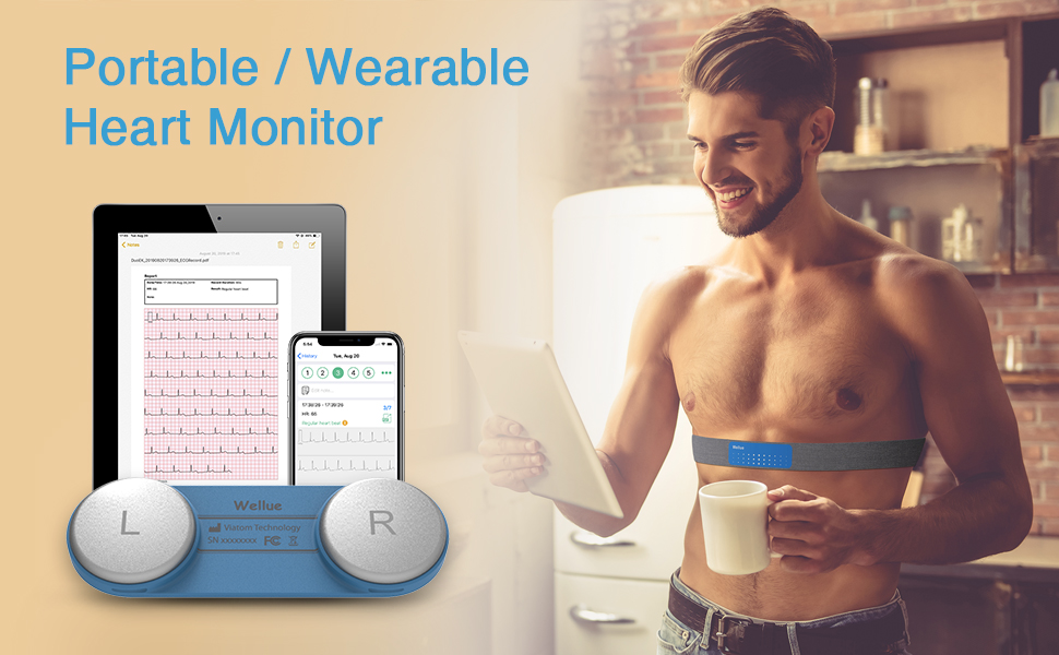 Wellue Heart Monitor,Wearable Chest Strap Bluetooth Heart Health Monitor w Free APP for iOS/Andriod