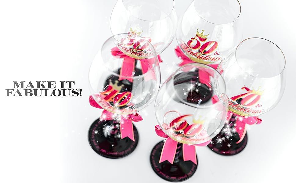 Fabulous 30 40 50 60 70 wine glass 30th 40th 50th 60th 70th birthday gift for mom grandma women
