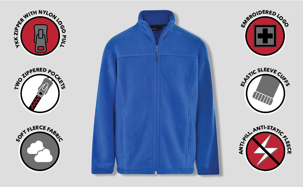 Swiss Alps Boys Full Zip Performance Polar Fleece Jacket Sweatshirt with Pockets