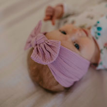 Purple Cable Knit Knotted headbands for baby girl