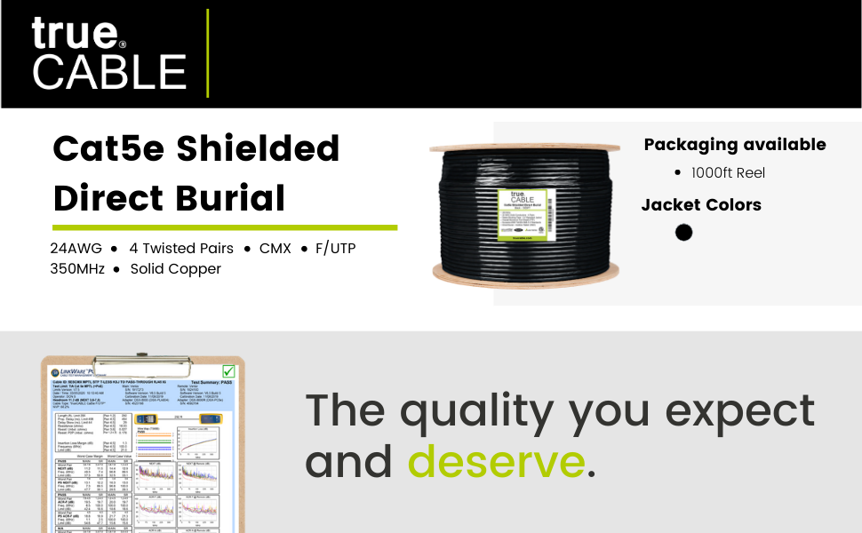 cat5e Shielded f/utp direct burial ethernet cable solid copper etl listed fluke certified rohs 1000