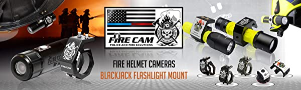 Fire Cam Police and Fire Solutions Fire Helmet Cameras BlackJack Flashlight Mount