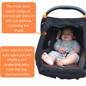 snoozeshade, car baby sun shade, baby car sun shade, baby capsule car seat shade