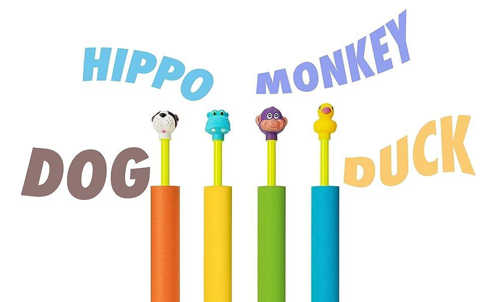 hippo, monkey, dog, duck toy