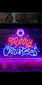 ADVPRO Dual Color LED Neon Sign light Merry Christmas Xmas star tree big font text warm atmosphere