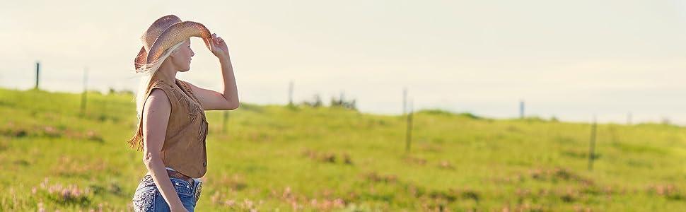 cowgirl grass field