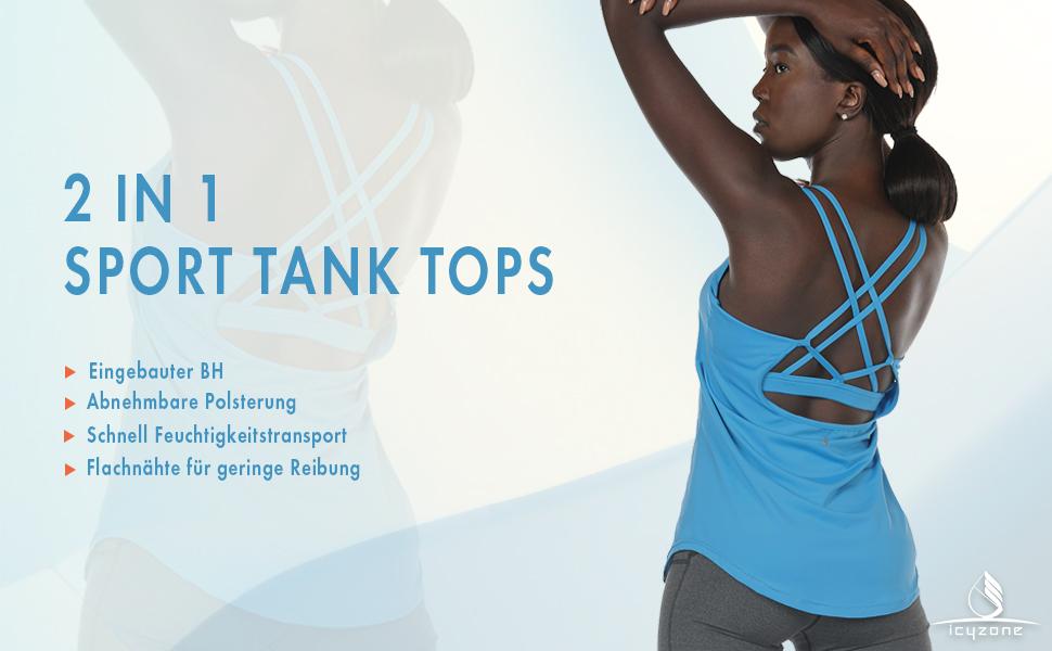 Hawiton Damen Trainingsshirt 2-in-1-Yogashirt Mesh Sportshirt Tanktop mit Netzeinsatz und Racerback f/ür Sport und Freizeit