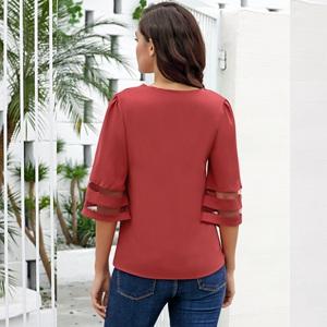 ZEFOTIM✿Womens V Neck Mesh Panel Blouse 3//4 Bell Sleeve Loose Top Shirt Dress