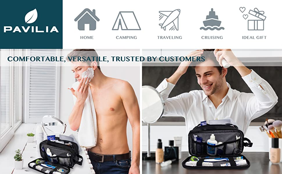 men toiletry bag for shave kit and hygiene items