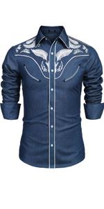 Men's Western Cowboy Embroidered Shirt