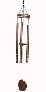 Ashman 20 inch Large Deep Tone Silver Wind Chimes with 5 Copper Vein Tubes.