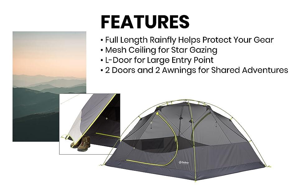 Full length rainflt full fly backpacking tent full mesh ceiling double door light pack weight tent