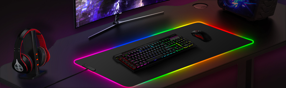 Gaming Mouse Pad, Large Mouse Pad, 12 Kinds of Lighting Effects, Waterproof and Smooth Surface