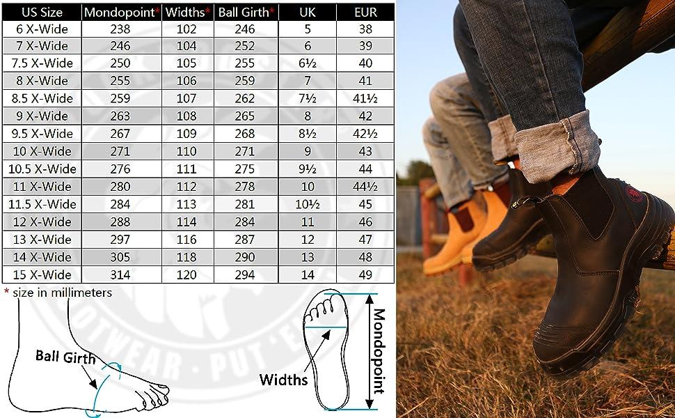AK227 AK222 Rockrooster logger boots size chart