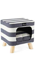 WANTRYAPET Indoor Cat Condo Ottoman Bed Pet House with Cushion Top and Interior Pillow for Cat Dog