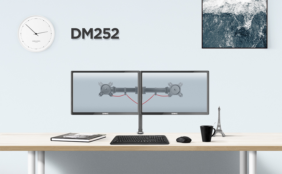 desk, mount, bracket, stand, support, riser, arm, double, two, twin, duo, dual, office, computer