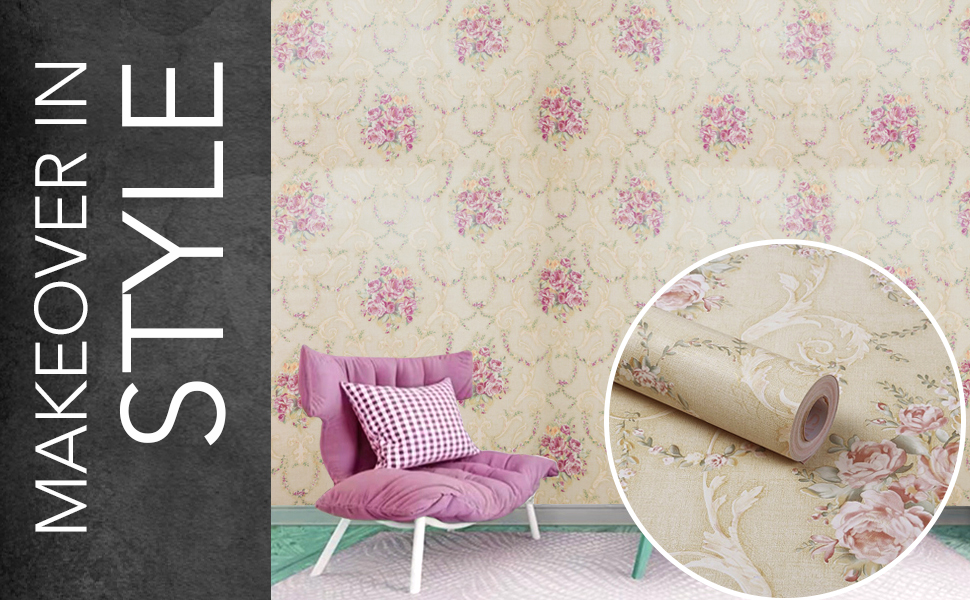 floral damask roses flowers wall stickers wallpapers for hall latest, DIY self-adhesive, waterproof