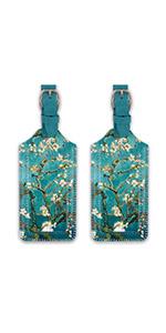 grren flower luggage tags