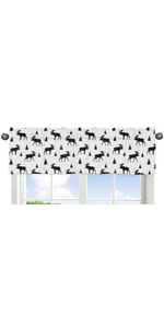 Black and White Woodland Moose Window Treatment Valance for Rustic Patch Collection